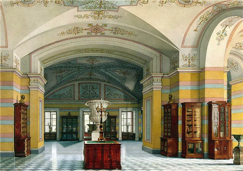 Library russian palace opulent decorative ceiling