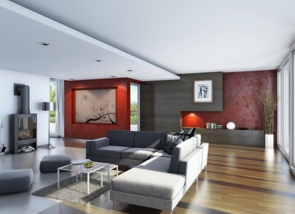 Living Room Interior Design: Living Room Wood Flooring