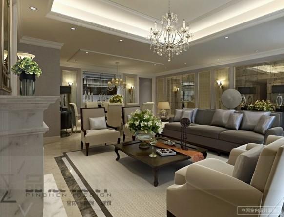 opulent elegante Wohnzimmer Neutrale Töne