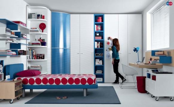 rot blau Buche weiß Moderne Teenager-Zimmer
