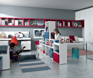 red white blue Contemporary Teenagers Room