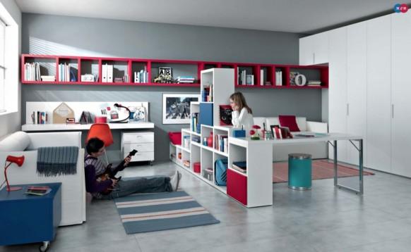 rot, weiß, blau, Moderne Teenager-Zimmer