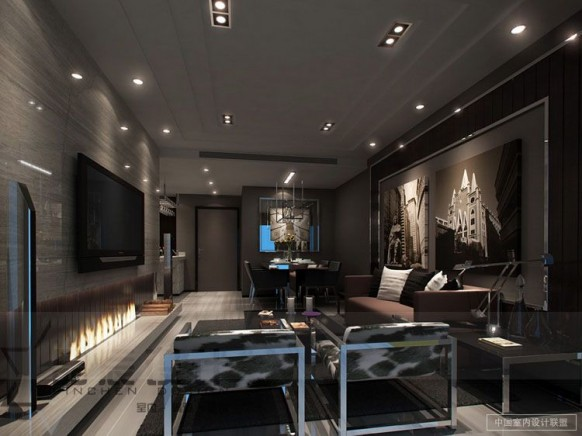 elegante moderne Wohnzimmer-Männlich chrome