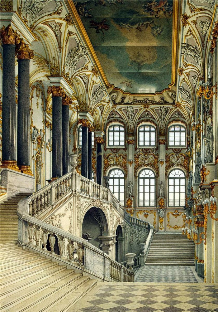 Stairway grand opulent russian palace painted ceiling the library