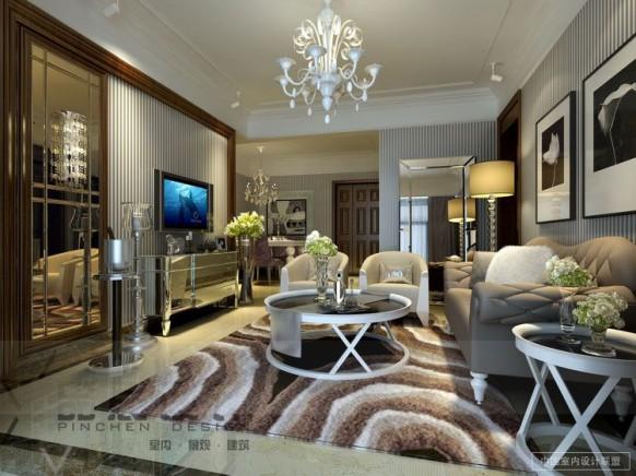 gestreifte Tapete Wohnzimmer weiß Braun Spiegel