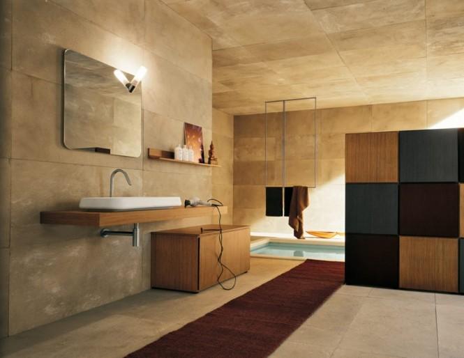 Badezimmer mit Steinmauern