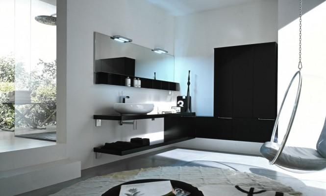 schwarz und weiß Badezimmer