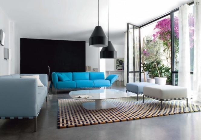 schwarz-Lampen, blau, weiß-sofas