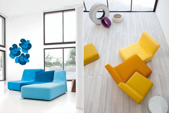 yello Blaue Couch weißes Wohnzimmer