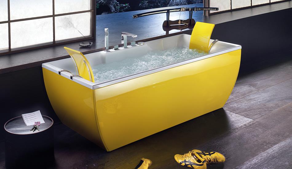 outstanding yellow bathroom designs | yellow bathtub | Interior Design Ideas.