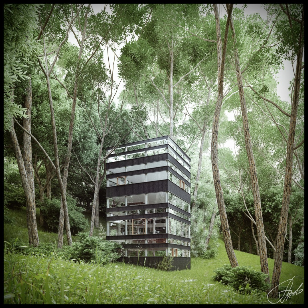 7 Amazing Houses Built Into Nature: Japanese House In The Forest (Visualized