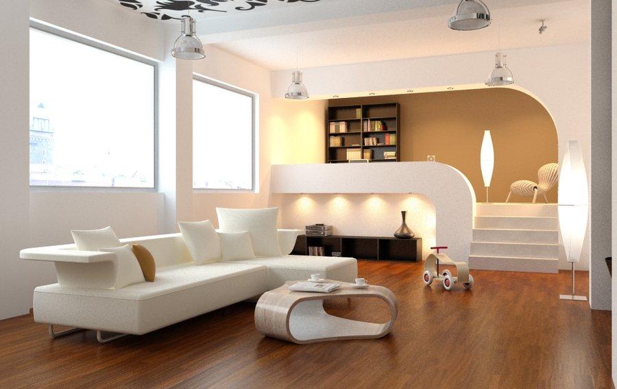 amazing split level living room | curvilinear rectiliner split level by Eva Gradiva ...