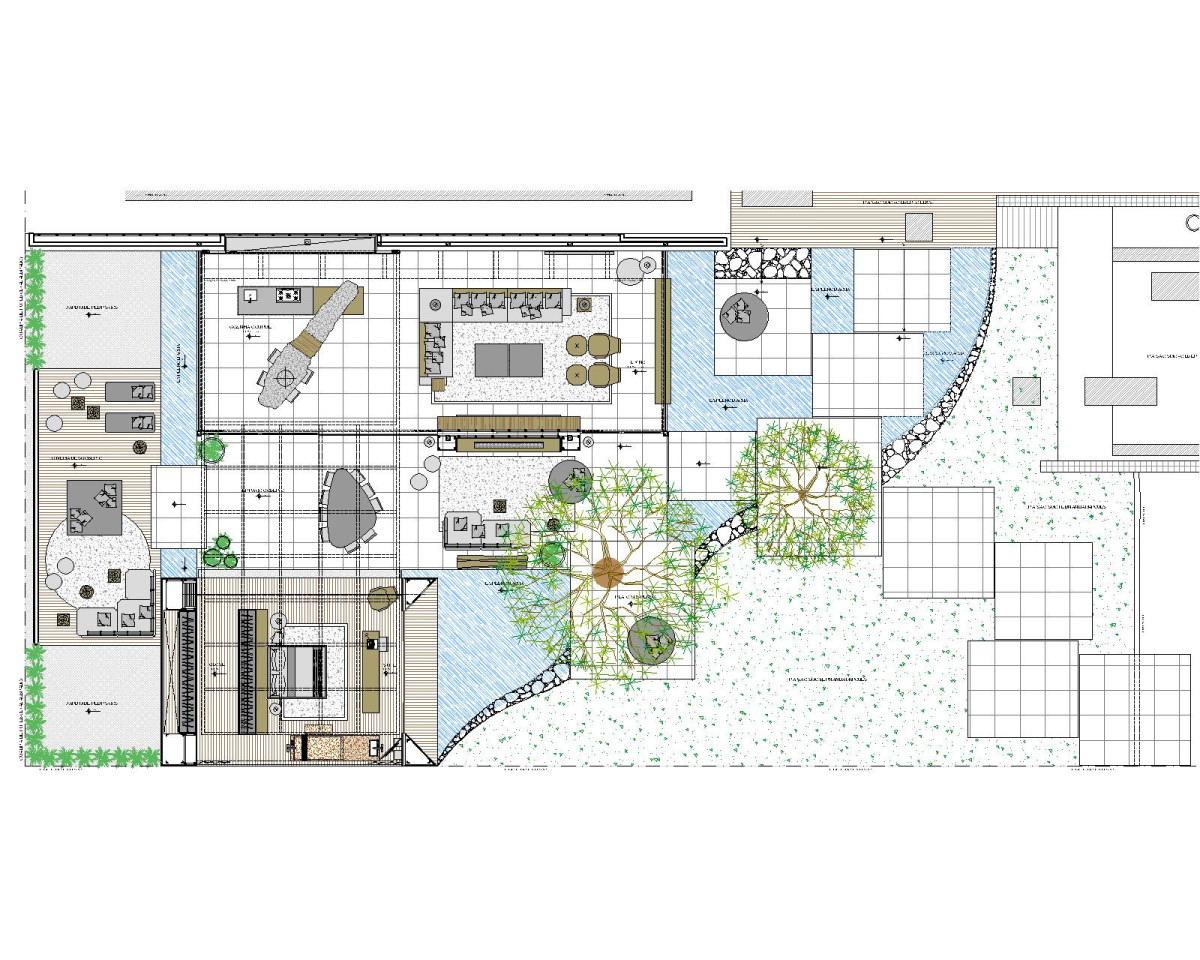Birds eye view sketch of indoor outdoor house