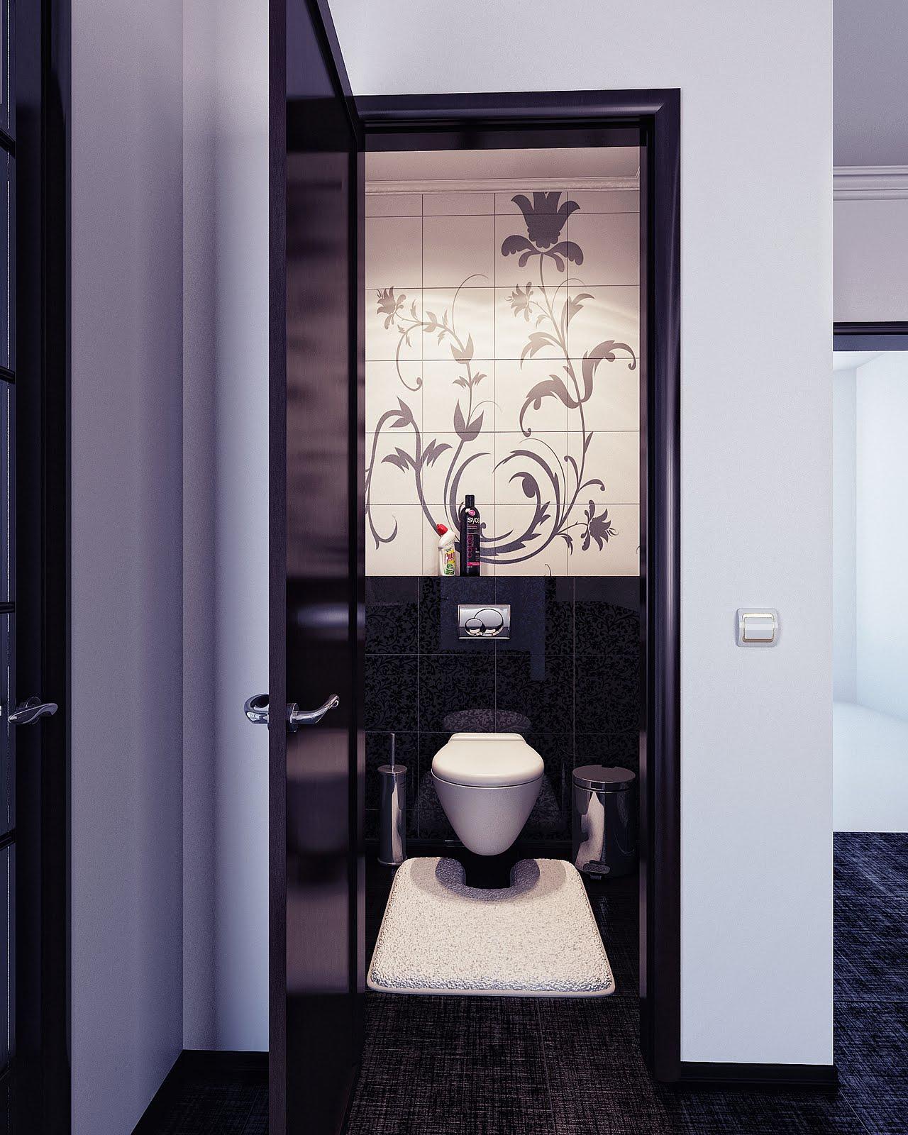 Bathroom Elegant Black White Bathroom Interior With: Black And White Modern Elegant Bathroom