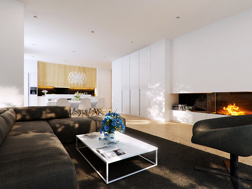 Brown modern living area with modern fireplace interior for Parete con camino