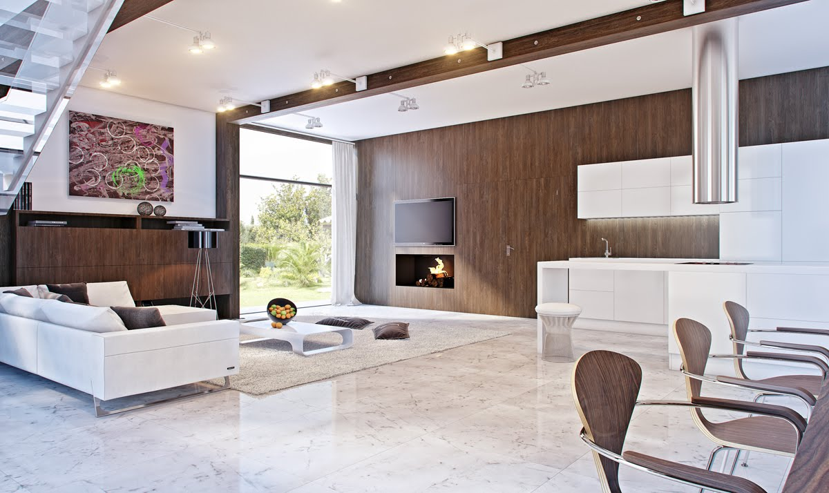 Mod retro marble white and brown living area