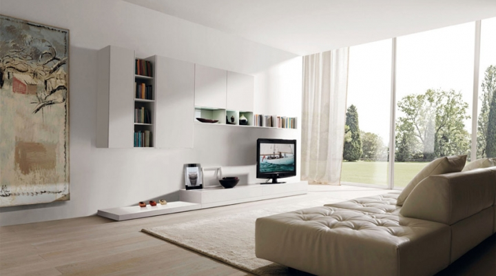 Flowing open interiors from euromobil for Zona living design