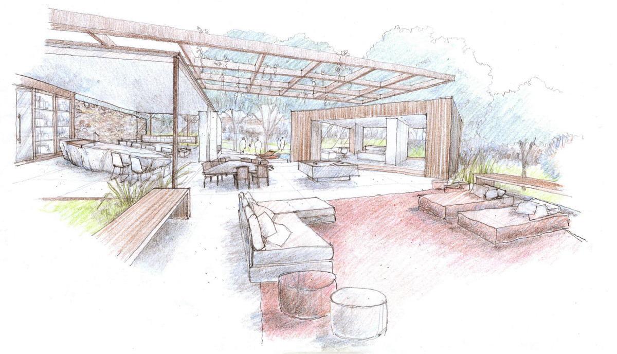 Outdoor indoor house sketch