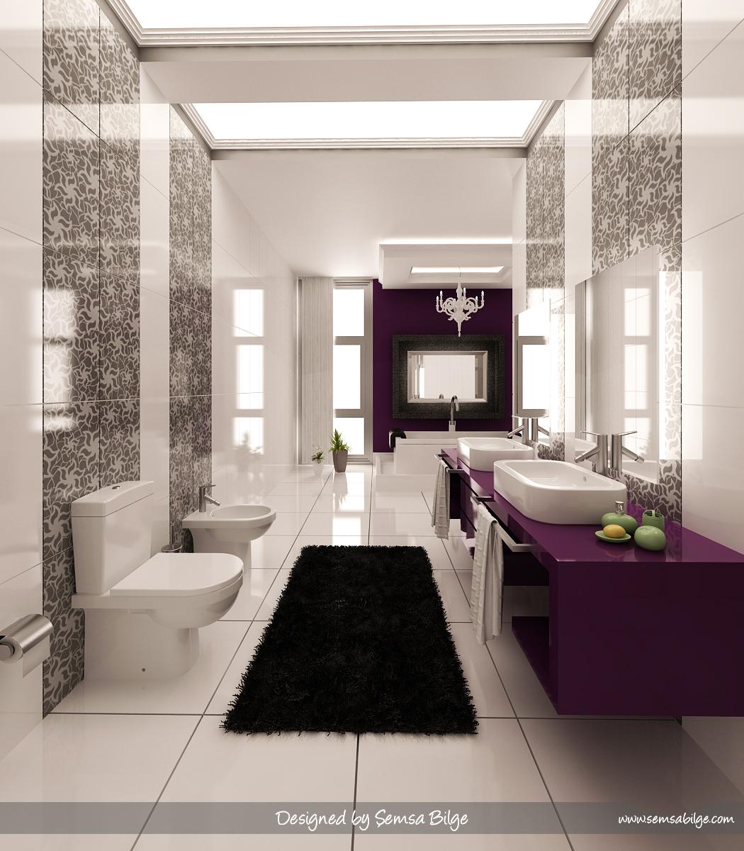 Purple Black And White Graphic Print Bathroom