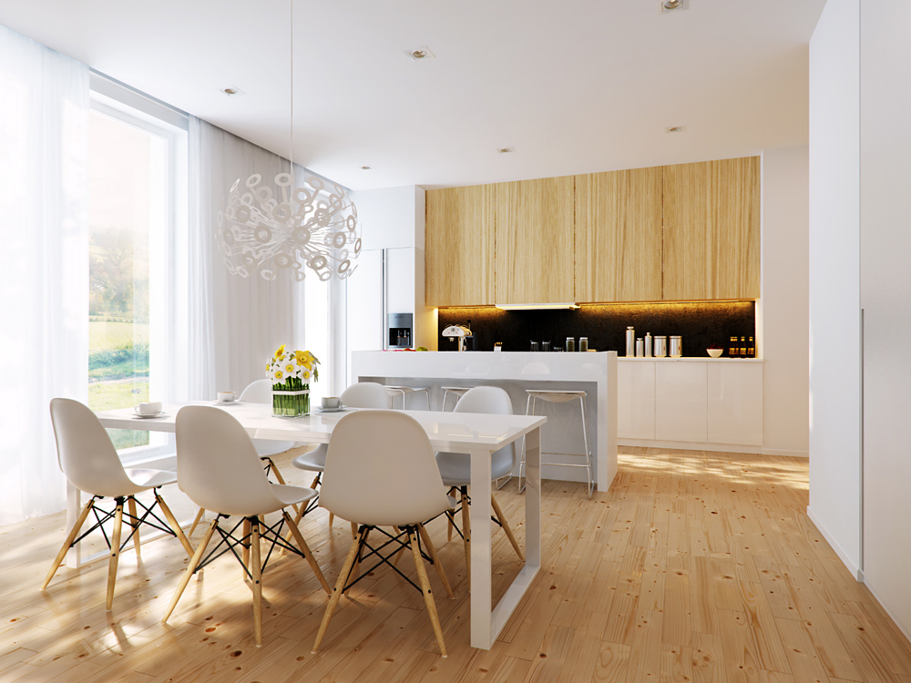White dining area and white open kitchen interior design - Interior design kitchen dining room ...