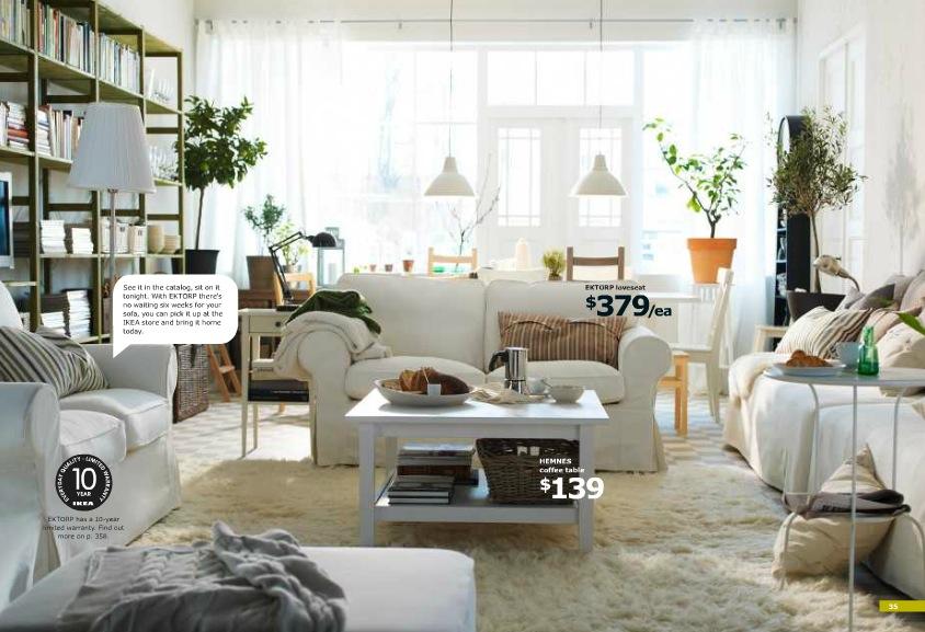 Ikea white cozy living area interior design ideas - Ikea living room decorating ideas ...