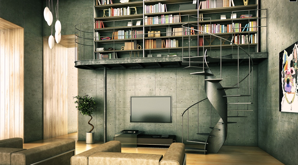 wonderful industrial style home design | Library Inspiration