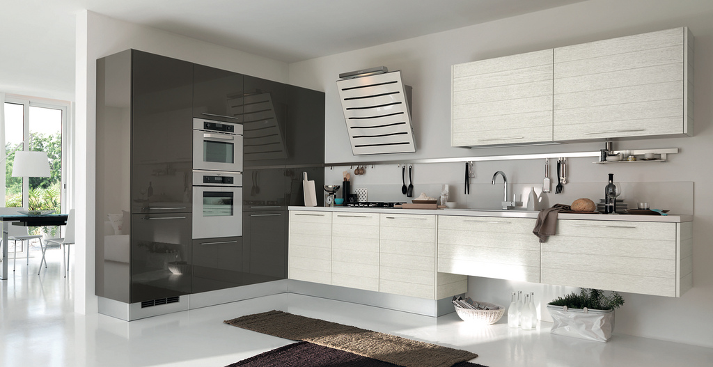grey and white contemporary kitchens open modern kitchens with few pops of color 6954