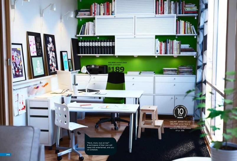 ikea green and white workspace | Interior Design Ideas