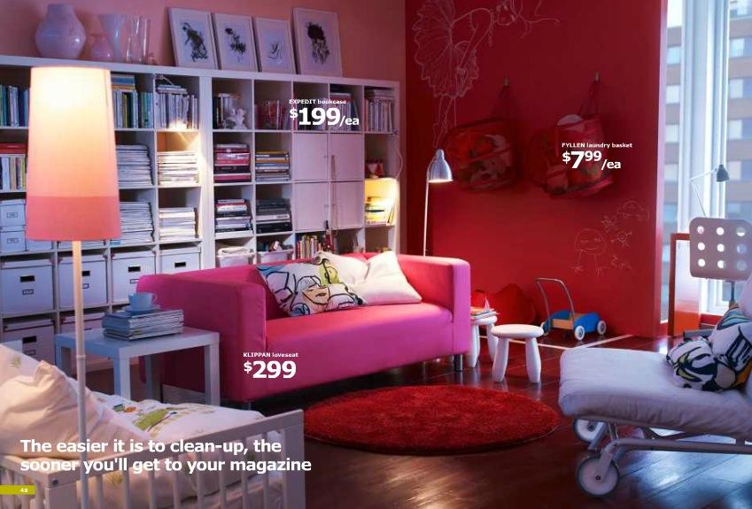 Ikea Red Living Room Interior Design, Ikea Living Room Ideas