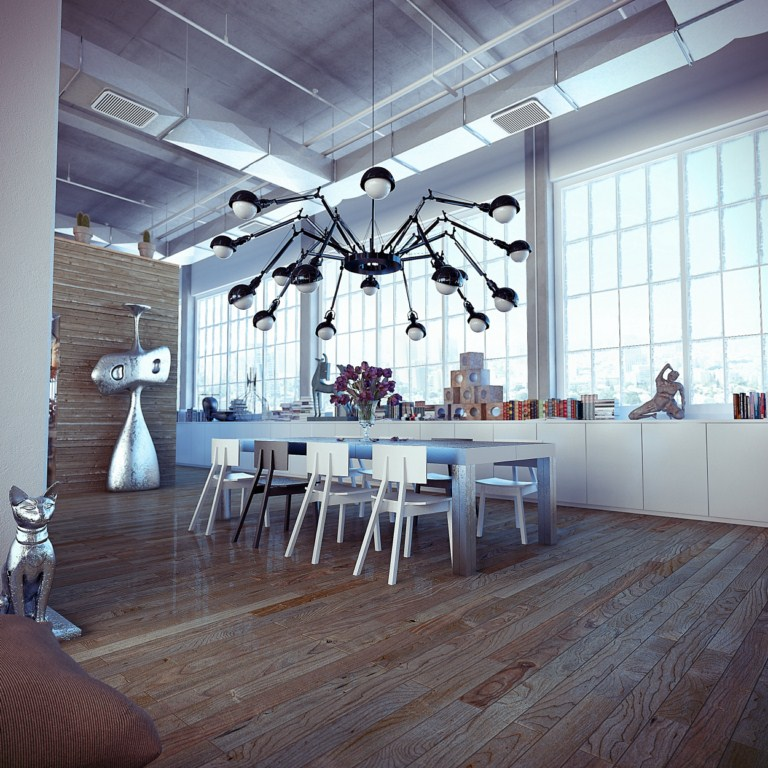 Loft Layout Ideas Design: Industrial Loft