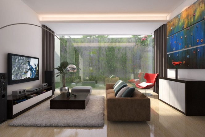 This minimalistic room with neutral modern furniture offers a few pops of color in wall art and a chair the door of the attached outdoor courtyarrd is