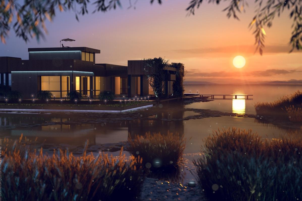 modern house on a lake interior design ideas. Black Bedroom Furniture Sets. Home Design Ideas