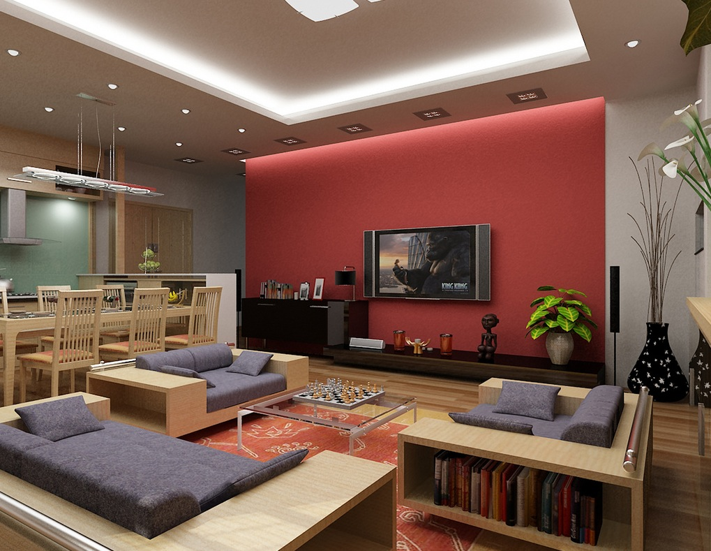 Nguyen Red And Denim Living Roominterior Design Ideas