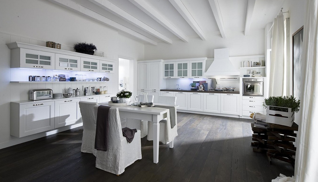 modern white kitchen dark floor open modern kitchens with few pops of color 140