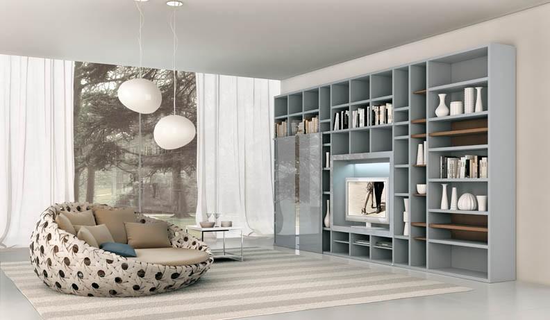Shelves Soft Blue Grey Interior Design Ideas