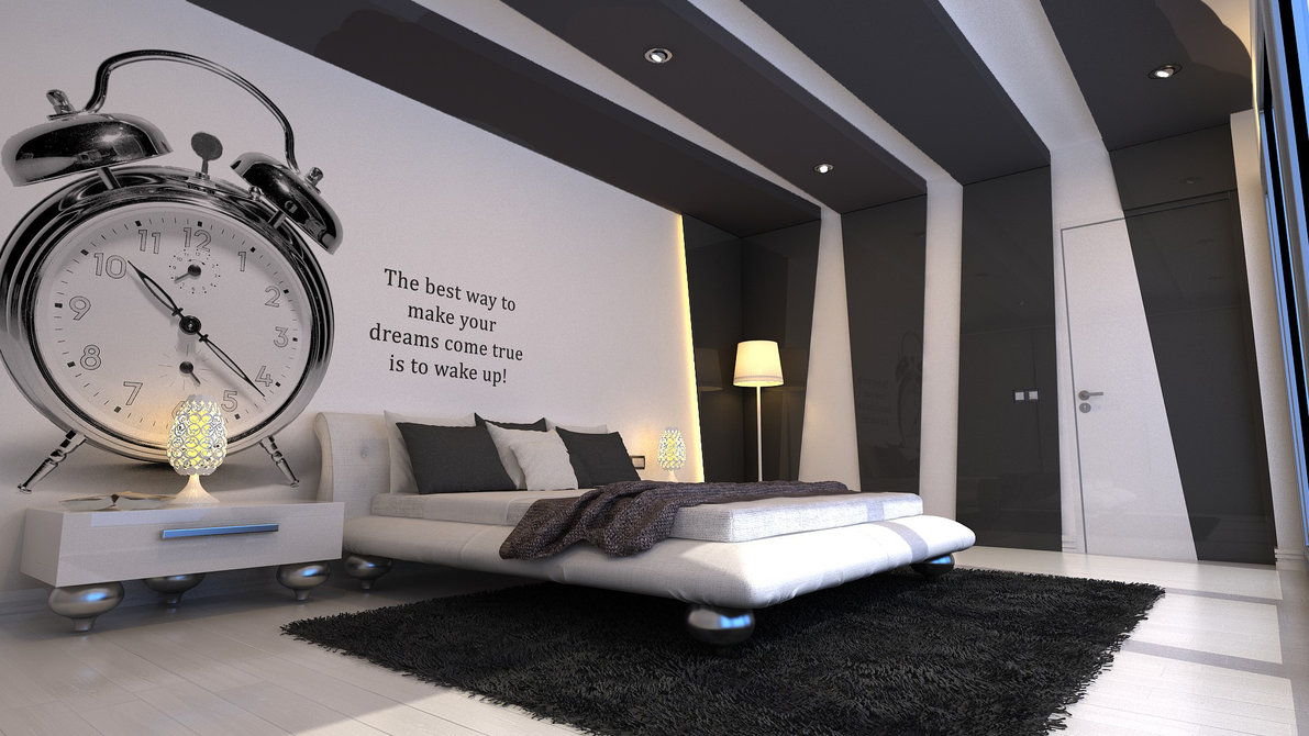 Grey And White Bedroom With Insipiration Wall Quote