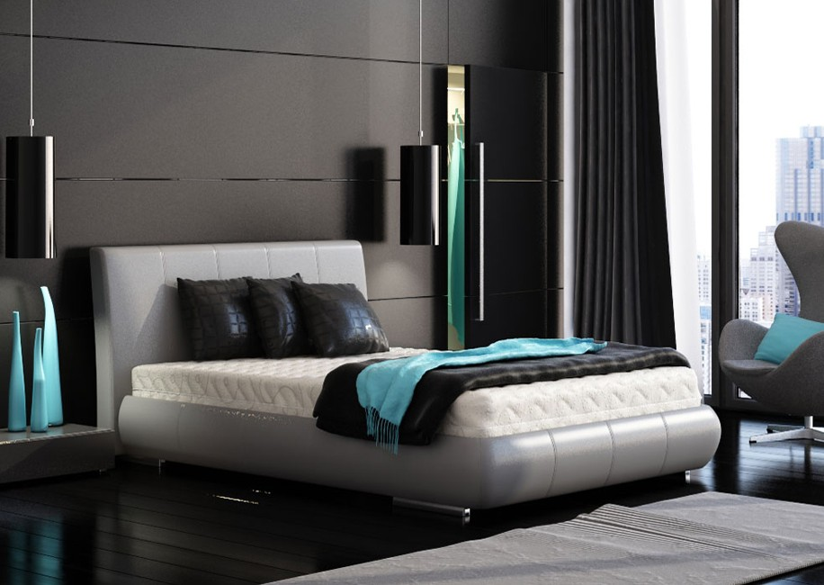 Black Bedroom Turquoise Accents
