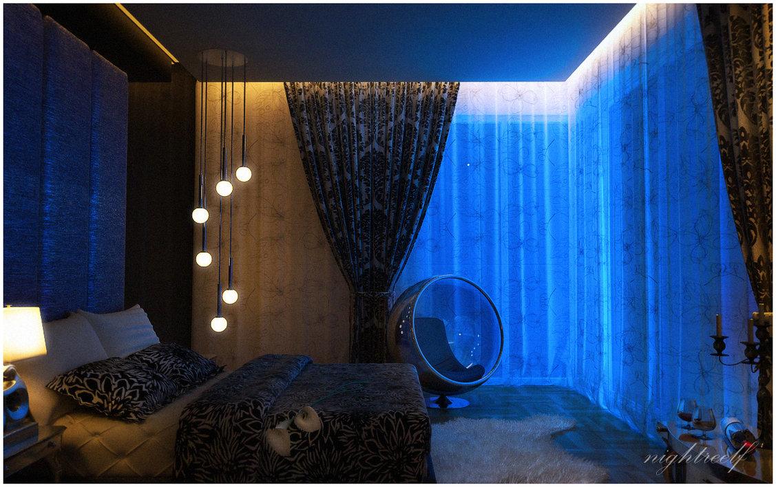 Dark Blue Space Bedroom Interior Design Ideas