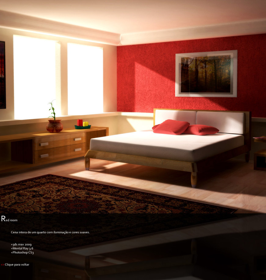 Red Colour Wall: Red Bedrooms