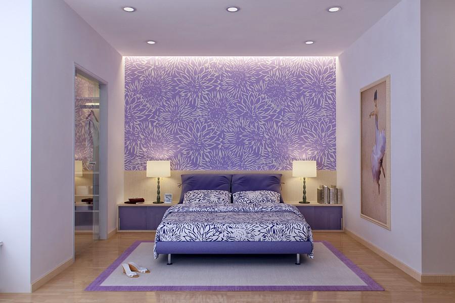 Vu Khoi Purple And White Bedroom