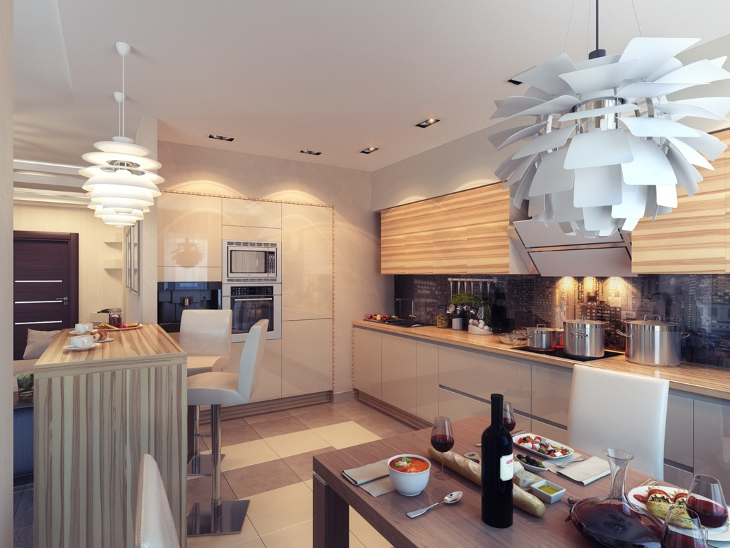 Kitchen With Ambient Lighting Interior Design Ideas