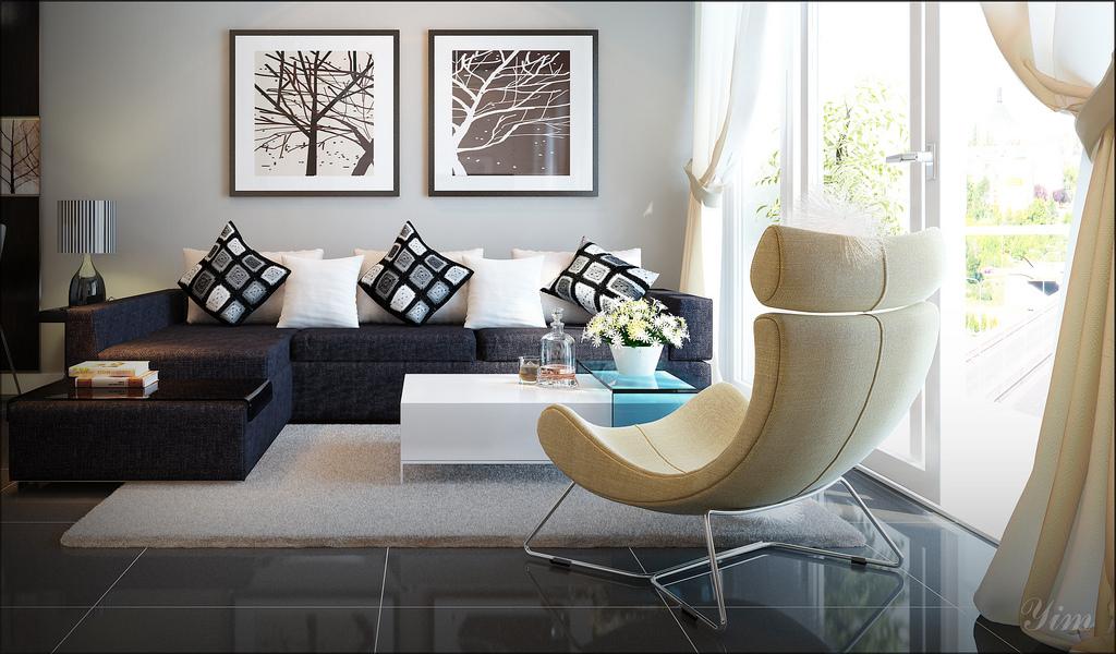 A Dark Brown Couch Vs Yellowish Chair, Dark Brown Sofa Living Room Ideas