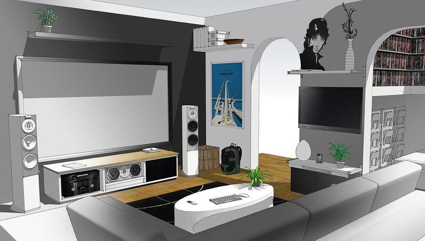 Home Entertainment System Sketch Up Interior Design Ideas