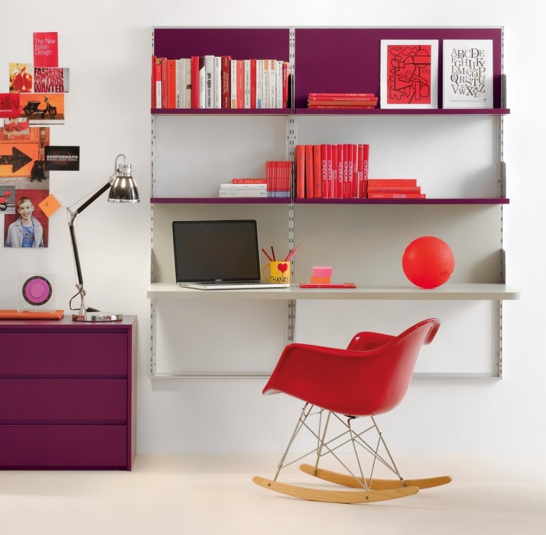 Purple Red Shelf Desk
