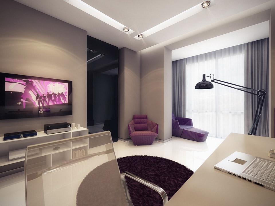 Purple White Home Study Interior Design Ideas