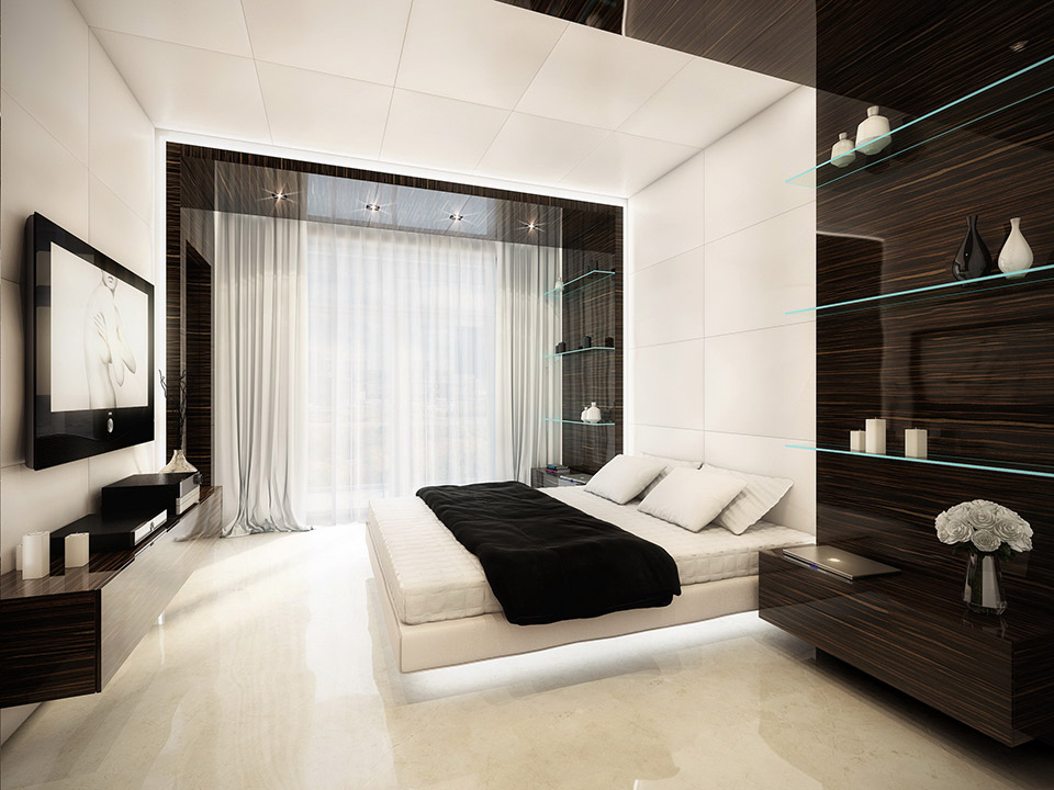 feature headboard floating bed