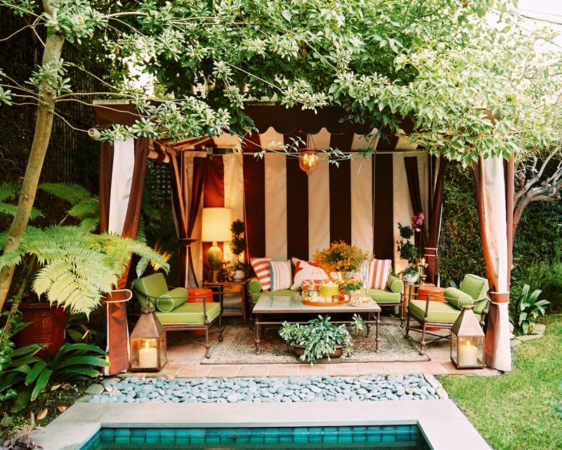 Poolside Striped Cabana Interior Design Ideas