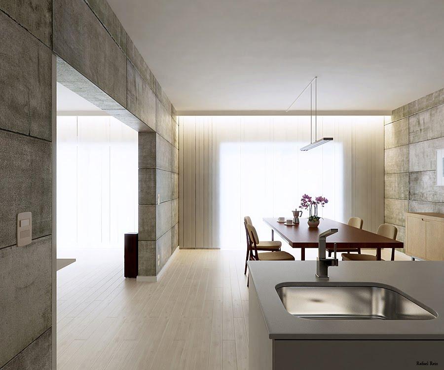 Kitchen Diner Concrete Walls