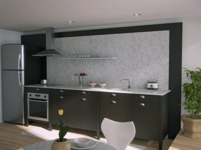Black kitchen marble splash back