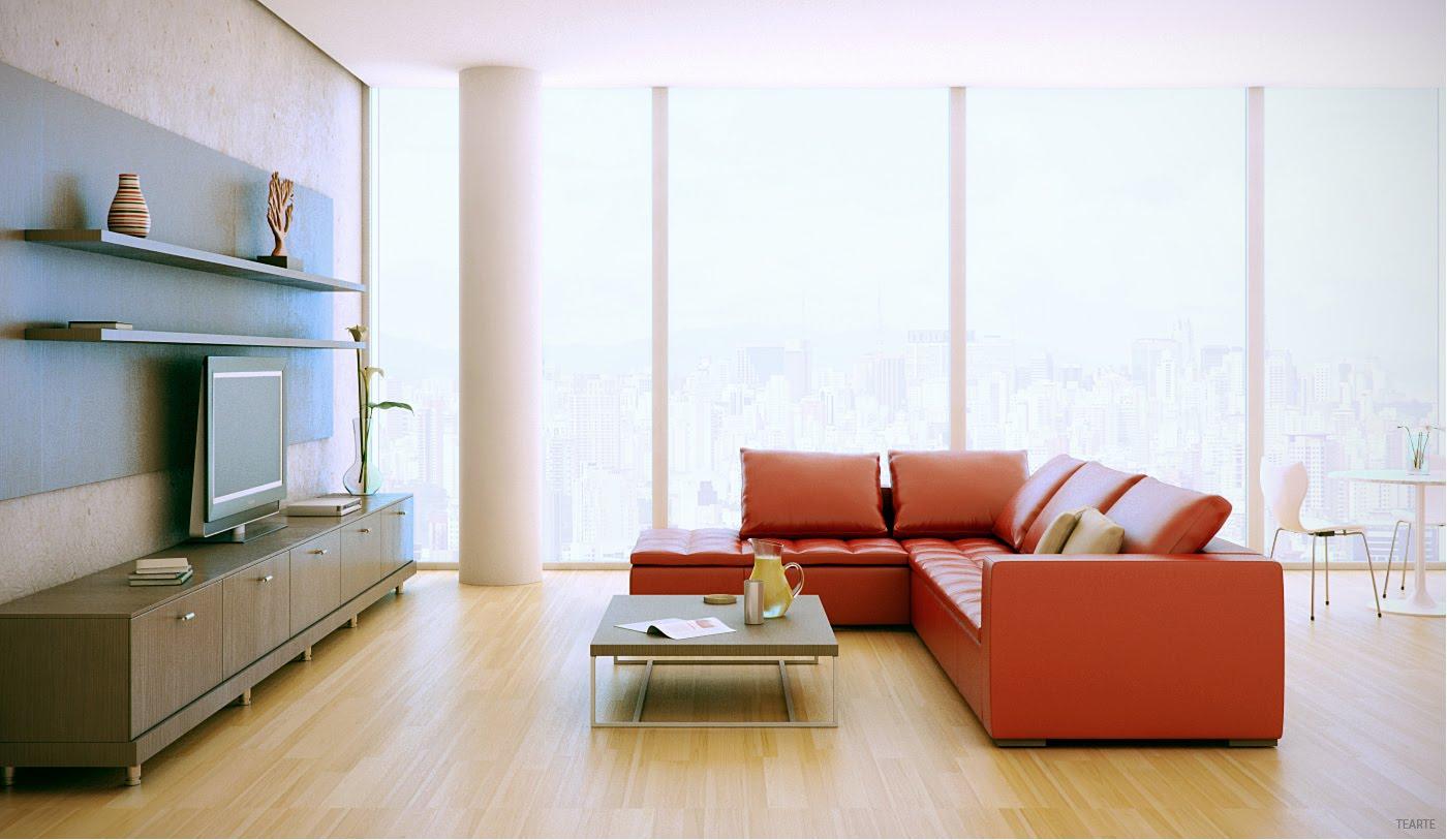 Red Sofa Wood Entertainment Unit Interior Design Ideas